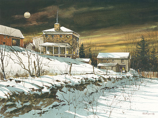 John Rossini JR313 - Moon Shadows - Moon, Snow, Winter, Stone House, Field from Penny Lane Publishing