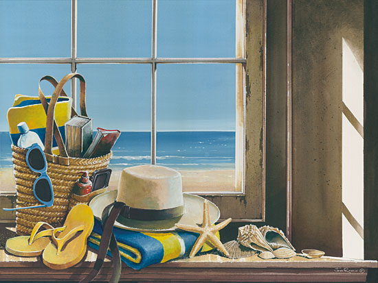 John Rossini JR351 - Day at the Beach - 16x12 Day at the Beach, Flip Flops, Straw Hat, Beach Bag, Shells, Window Pane, Ocean from Penny Lane