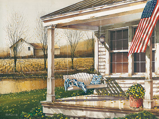 John Rossini JR352 - Fall is in the Air - 16x12 Front Porch, Swing, American Flag, Patriotic, Autumn, Harvest, Yellow Flowers, Flowers from Penny Lane