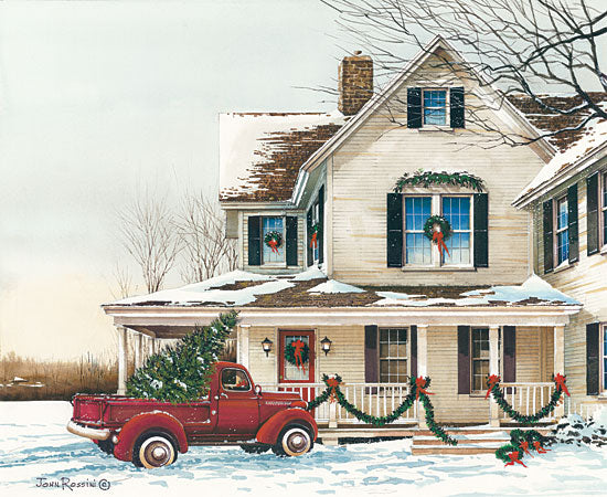 John Rossini JR354 - Preparing for Christmas - 16x12 House, Homestead, Truck, Red Truck, Holidays, Winter, Christmas Tree from Penny Lane