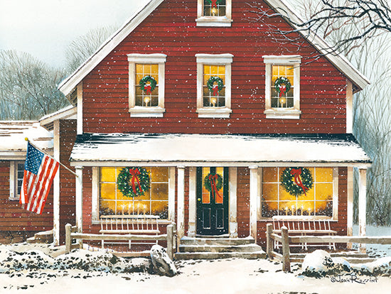 John Rossini JR356 - Country Christmas - 16x12 House, Home, Holidays, Winter, Front Porch, American Flag, Snow, Americana  from Penny Lane