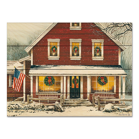 John Rossini JR356PAL - Country Christmas House, Home, Holidays, Winter, Front Porch, American Flag, Snow, Americana  from Penny Lane
