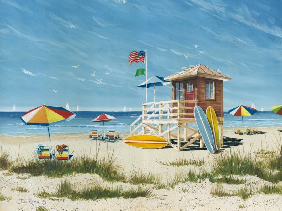John Rossini JR358 - Beach Colors - 16x12 Coastal, Beach, Lifeguard Shack, Umbrellas, Surfing, Surfboards from Penny Lane