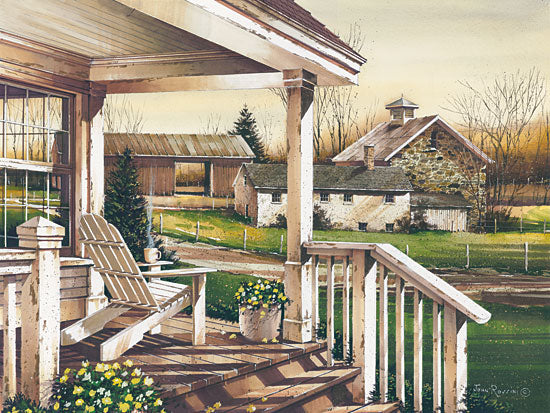 John Rossini JR360 - Long Days End - 16x12 Front Porch, House, Adirondack Chair, Flowers, Home, Relaxing from Penny Lane