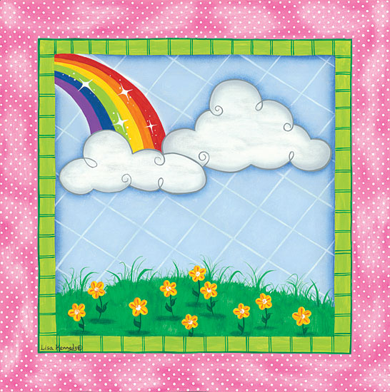 Lisa Kennedy KEN1004 - Rainbow & Clouds Rainbow, Clouds, Flowers, Babies, Kid's Art, Triptych from Penny Lane