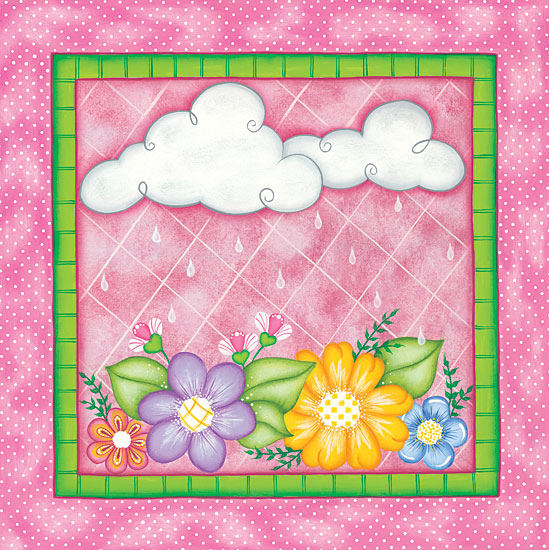 Lisa Kennedy KEN1005 - Clouds & Flowers Clouds, Rain, Weather, Flowers, Babies, Kid's Art, Triptych from Penny Lane