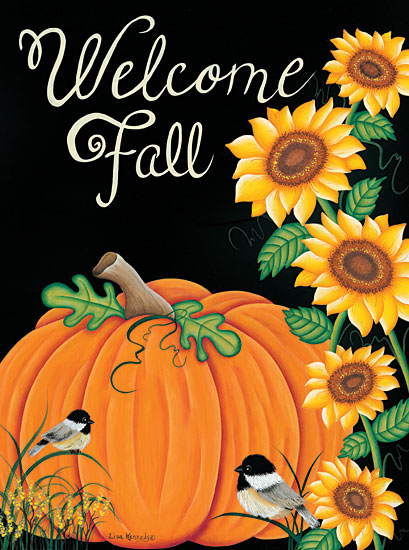 Lisa Kennedy KEN1027 - Welcome Fall - 12x16 Fall, Harvest, Autumn, Pumpkins, Leaves, Chalkboard, Welcome, Birds from Penny Lane