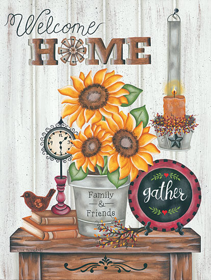 Lisa Kennedy KEN1029 - Gather Family & Friends - 12x16 Welcome, Still Life, Pot, Sunflowers, Country, Primitive, Candles from Penny Lane