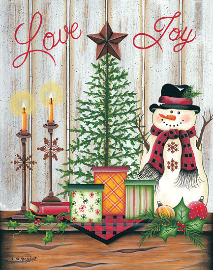 Lisa Kennedy KEN1033 - Love & Joy - 12x16 Holidays, Snowman, Tree, Pine Branches, Presents, Shiplap, Candles, Love, Joy from Penny Lane