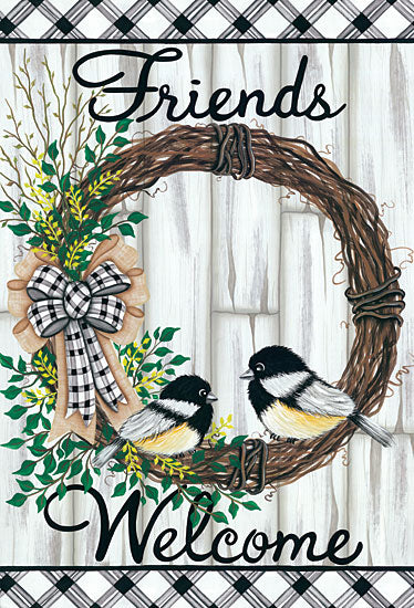 Lisa Kennedy KEN1075 - KEN1075 - Welcome Friends - 12x18 Signs, Calligraphy, Birds, Wreath, Wood Planks,  from Penny Lane
