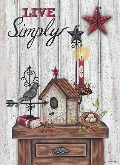 Lisa Kennedy KEN973 - Live Simply Live Simply, Birdhouse, Barn Stars, Candle, Bird's Nest from Penny Lane