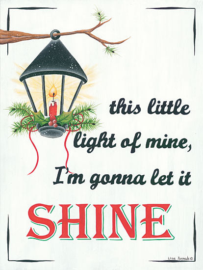 Lisa Kennedy KEN975 - Let It Shine Lantern, This Little Light of Mine, Candle, Pine Sprigs, Holiday from Penny Lane