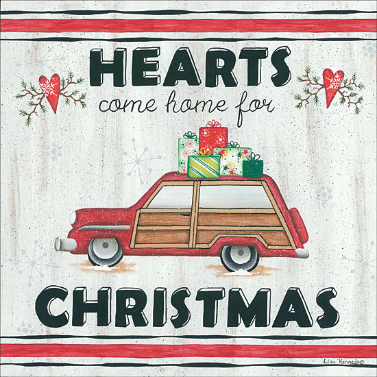 Lisa Kennedy KEN980 - Hearts Come Home for Christmas Hearts, Holiday, Station Wagon, Car, Presents, Home from Penny Lane