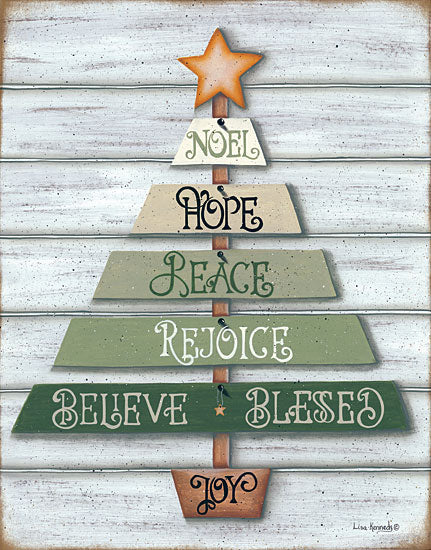 Lisa Kennedy KEN987 - Farmhouse Green Tree Christmas Tree, Holiday, Primitive from Penny Lane