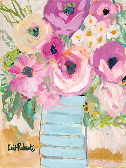 Kait Roberts KR144 - Granny's Visit Abstract, Vase, Flowers, Purple from Penny Lane