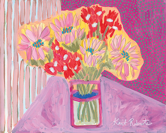 Kait Roberts KR153 - Flowers for Vivian Abstract, Flowers, Vase, Pink, Red, Purple from Penny Lane