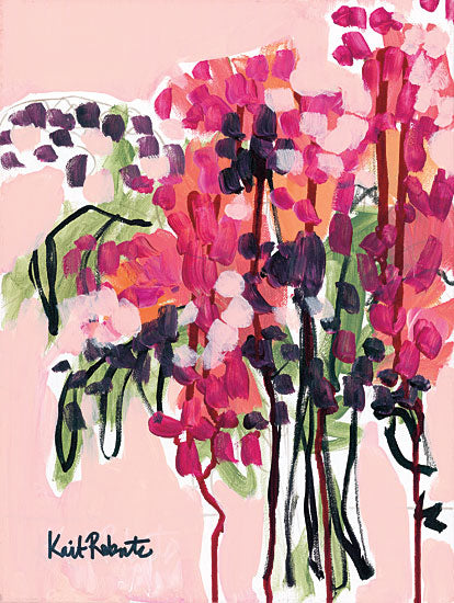 Kait Roberts KR159 - Picked in a Field in Maine Abstract, Vase, Flowers, Red, Black from Penny Lane