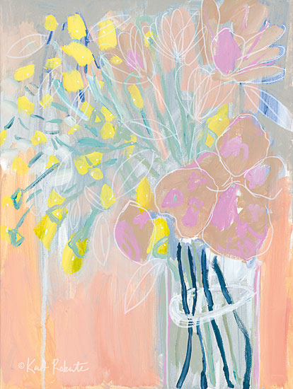 Kait Roberts KR160 - Maybe She's a Wildflower Abstract, Flowers, Vase, Pink, Yellow from Penny Lane