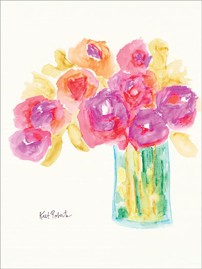 Kait Roberts KR163 - Speak in Flowers Abstract, Pink, Yellow, Flowers, Vase from Penny Lane