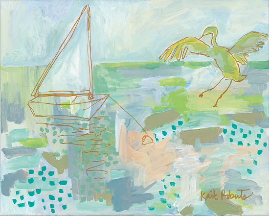 Kait Roberts KR189 - Early Bird Sailboat, Bird,  Lake, Landscape, Abstract from Penny Lane
