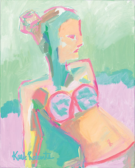 Kait Roberts KR192 - Sunbather Series:  Raspberry Sorbet Gaze Abstract, Sunbather, Woman, Swimming from Penny Lane