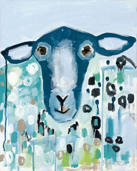 Kait Roberts KR235 - I'll Be Blue Abstract, Goat, Blue and White, Farm, Fence from Penny Lane