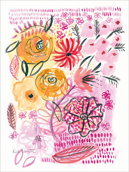 Kait Roberts KR248 - Botanical Splash Flowers, Pink and Yellow, Blooms, Botanical, Abstract from Penny Lane