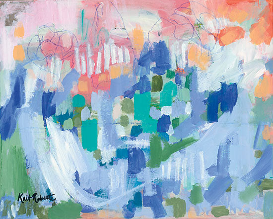 Kait Roberts KR253 - A Bushel and a Peck Abstract, Blue, Green, Orange from Penny Lane