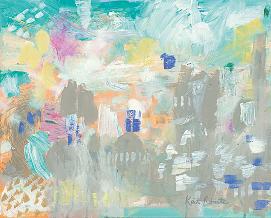 Kait Roberts KR254 - Footprints in the Sand Abstract, Taupe, Yellow, Blue from Penny Lane