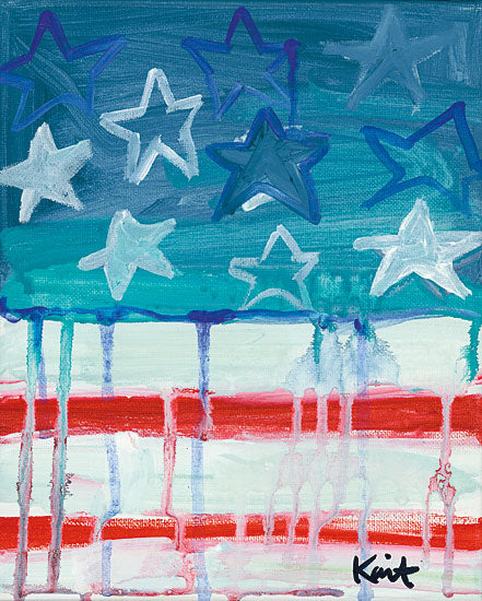 Kait Roberts KR260 - Flag Waving American Flag, Abstract, Red, White and Blue from Penny Lane