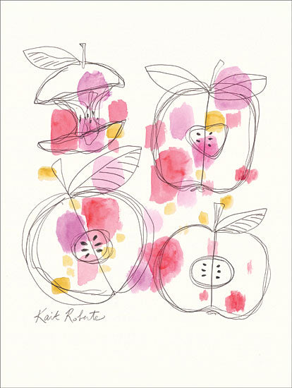Kait Roberts KR282 - Apple Cores - 12x16 Apples, Apple Core, Polka Dots, Kitchen from Penny Lane