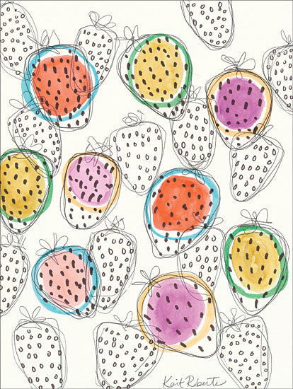 Kait Roberts KR287 - Dizzy for Strawberry - 12x16 Strawberries, Fruit, Abstract, Kitchen from Penny Lane