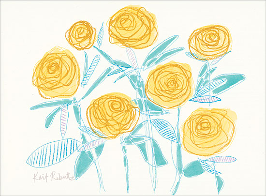 Kait Roberts KR329 - A Rose Lives Here - 16x12 Abstract, Flowers, Yellow Flowers, Roses from Penny Lane