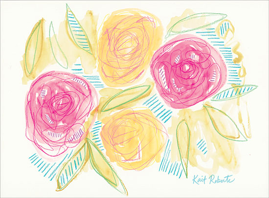 Kait Roberts KR332 - Happiness is Right Where I Planted It - 16x12 Abstract, Flowers, Pink & Yellow Flowers from Penny Lane