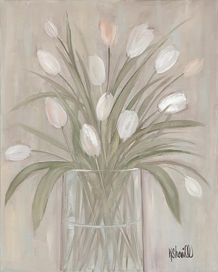 Kate Sherrill KS134 - KS134 - Tulip Bouquet - 12x16 Tulips, Vase, White Tulips, Botanical, Neutral Colors from Penny Lane