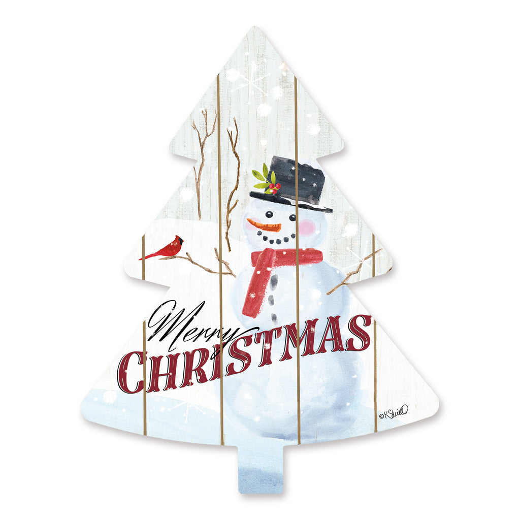 Kate Sherrill KS142TREE - KS142TREE - Merry Christmas Snowman  - 14x18 Signs, Birds, Snowman, Merry Christmas, Christmas Tree, Wood Planks, Typography from Penny Lane