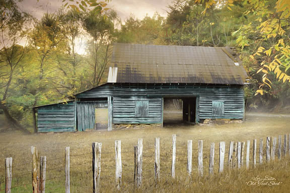 Lori Deiter LD1148 - Old Teal Shed - Shed, Fence, Posts, Field, Farm from Penny Lane Publishing