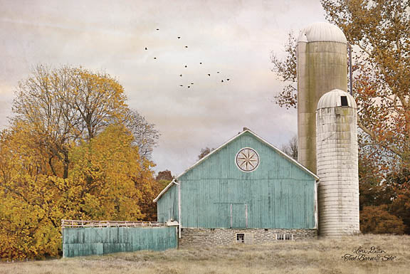 Lori Deiter LD1149 - Teal Barn and Silo - Barn, Silo, Farm, Trees, Harvest from Penny Lane Publishing