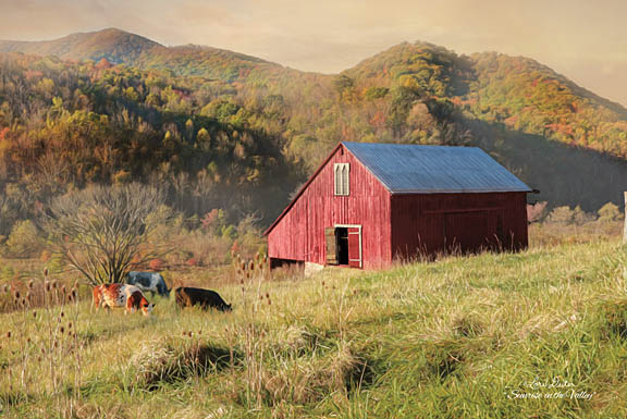 Lori Deiter LD1152 - Sunrise in the Valley - Barn, Cows, Valley, Grazing, Meadow from Penny Lane Publishing
