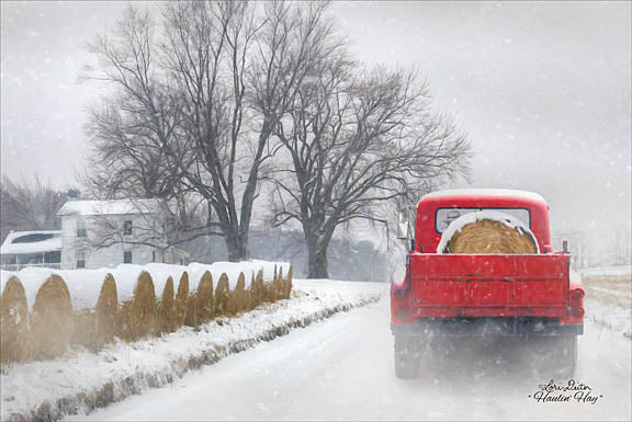 Lori Deiter LD1154 - Haulin' Hay - Truck, Hay, Trees, Farm, Winter, Snow from Penny Lane Publishing