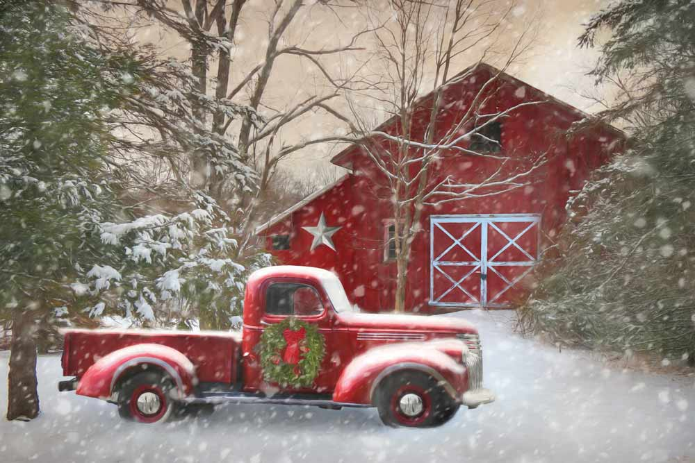 Lori Deiter LD1158 - Secluded Barn with Truck - Truck, Barn, Snow, Holiday, Christmas Trees from Penny Lane Publishing