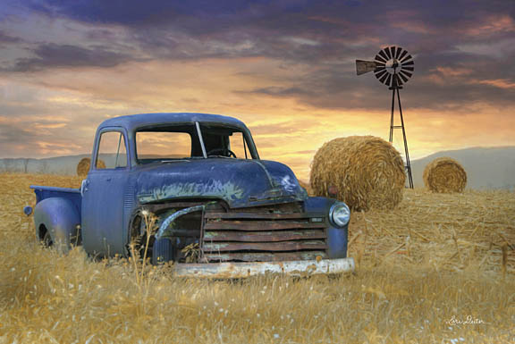 Lori Deiter LD1171 - Old Chevy with Windmill - Chevrolet, Truck, Haystacks, Windmill, Farm from Penny Lane Publishing
