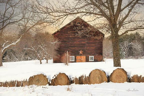 Lori Deiter LD1180 - Snowy Vermont Barn - Barn, Hay, Snow, Field from Penny Lane Publishing