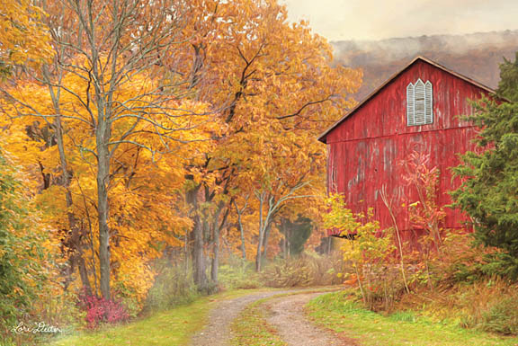 Lori Deiter LD1181 - Hidden Barn - Barn, Autumn, Driveway, Trees from Penny Lane Publishing
