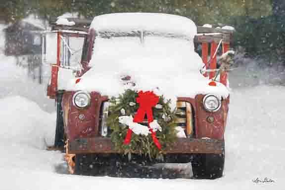 Lori Deiter LD1185 - Christmas Farm Truck - Truck, Wreath, Snow, Holiday from Penny Lane Publishing