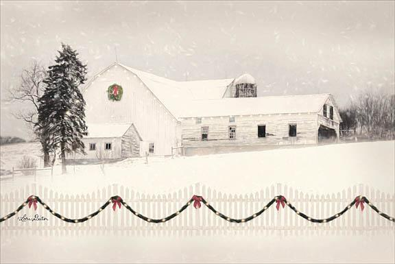 Lori Deiter LD1187 - Snowy Barn on a Hill - Barn, Snow, Fence, Farm from Penny Lane Publishing