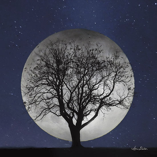 Lori Deiter LD1190 - Full Moon - Full Moon, Silhouette, Tree, Stars from Penny Lane Publishing