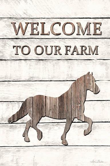 Lori Deiter LD1208 - Horse Welcome to Our Farm - Horse, Farm, Wood Planks, Welcome from Penny Lane Publishing