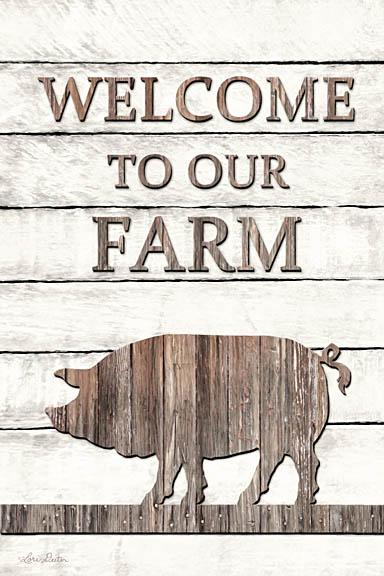 Lori Deiter LD1209 - Pig Welcome to Our Farm - Pig, Farm, Wood Planks, Welcome from Penny Lane Publishing