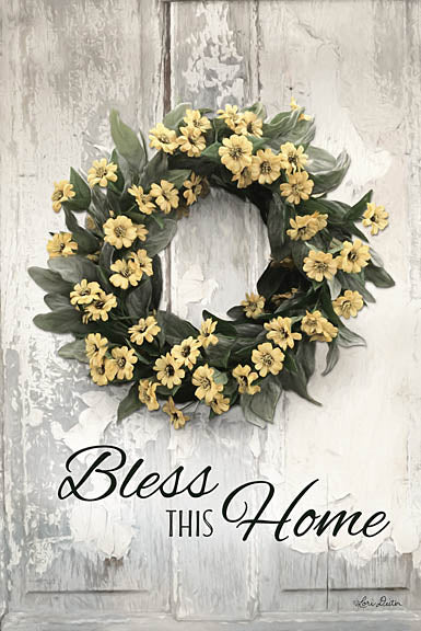 Lori Deiter LD1214 - Bless This Home - Flowers, Yellow, Wreath, Bless This Home from Penny Lane Publishing